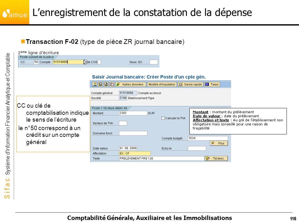S i f a c Système dInformation Financier Analytique et Comptable Comptabilité Générale, Auxiliaire et les Immobilisations 116 Lenregistrement de la co