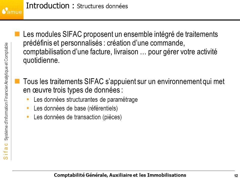 S i f a c Système dInformation Financier Analytique et Comptable Comptabilité Générale, Auxiliaire et les Immobilisations 12 Les modules SIFAC propose