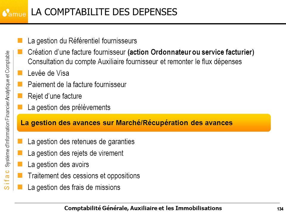 S i f a c Système dInformation Financier Analytique et Comptable Comptabilité Générale, Auxiliaire et les Immobilisations 134 LA COMPTABILITE DES DEPE