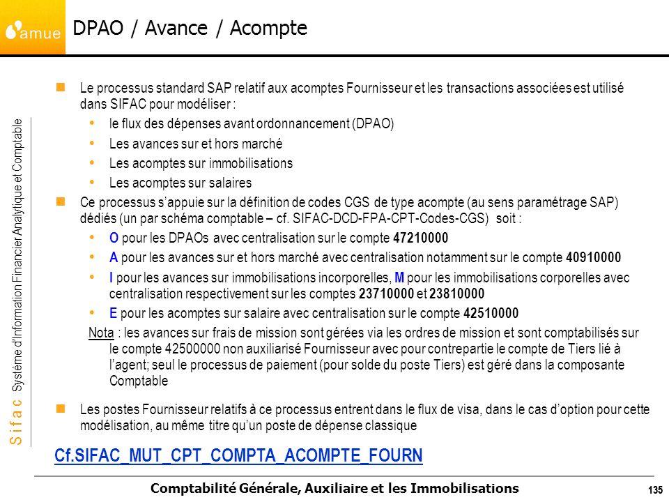 S i f a c Système dInformation Financier Analytique et Comptable Comptabilité Générale, Auxiliaire et les Immobilisations 135 DPAO / Avance / Acompte