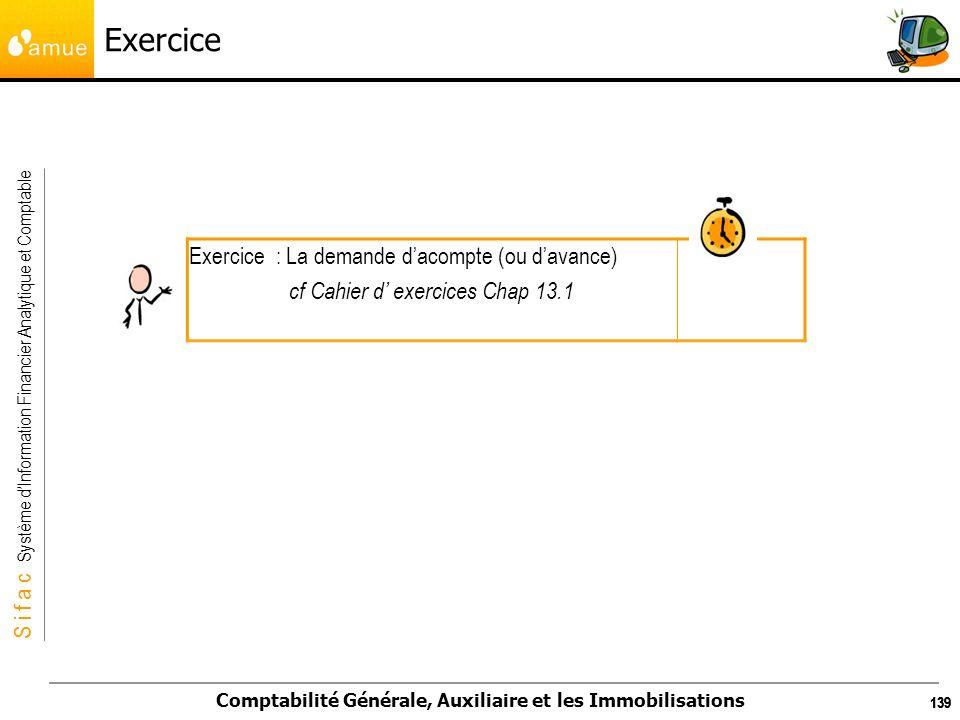 S i f a c Système dInformation Financier Analytique et Comptable Comptabilité Générale, Auxiliaire et les Immobilisations 139 Exercice Exercice : La d