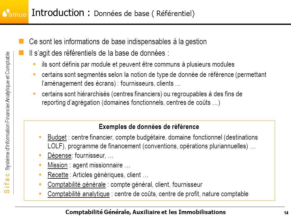 S i f a c Système dInformation Financier Analytique et Comptable Comptabilité Générale, Auxiliaire et les Immobilisations 14 Ce sont les informations