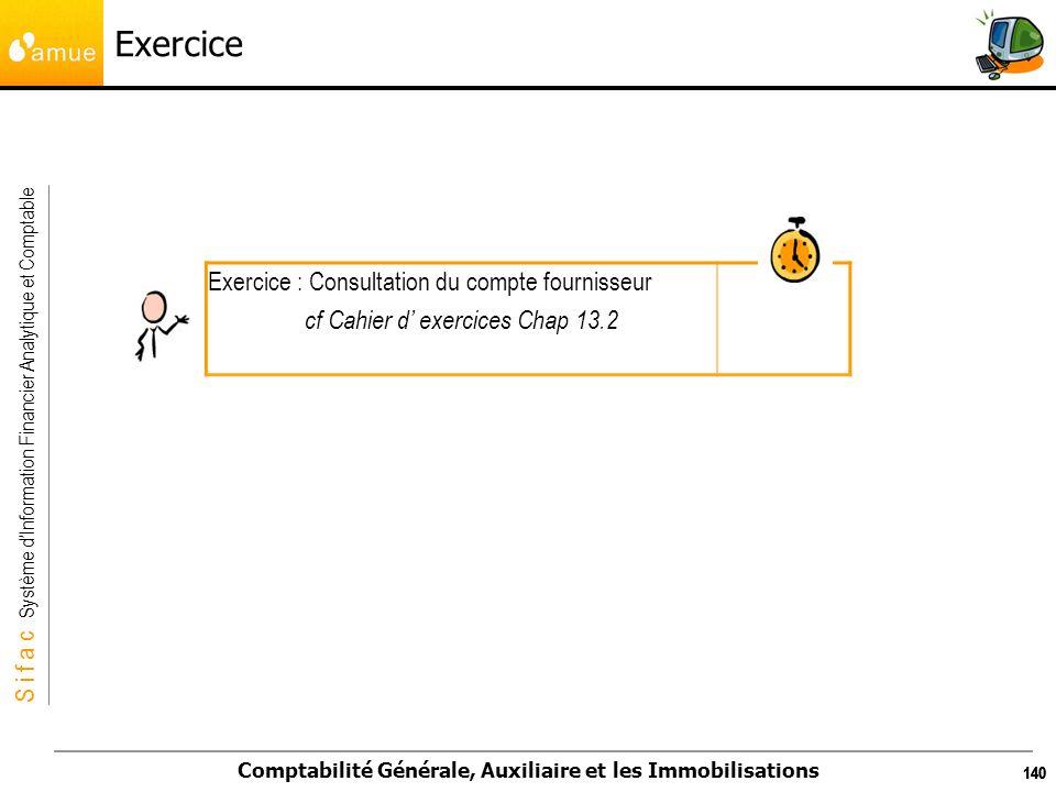 S i f a c Système dInformation Financier Analytique et Comptable Comptabilité Générale, Auxiliaire et les Immobilisations 140 Exercice Exercice : Cons