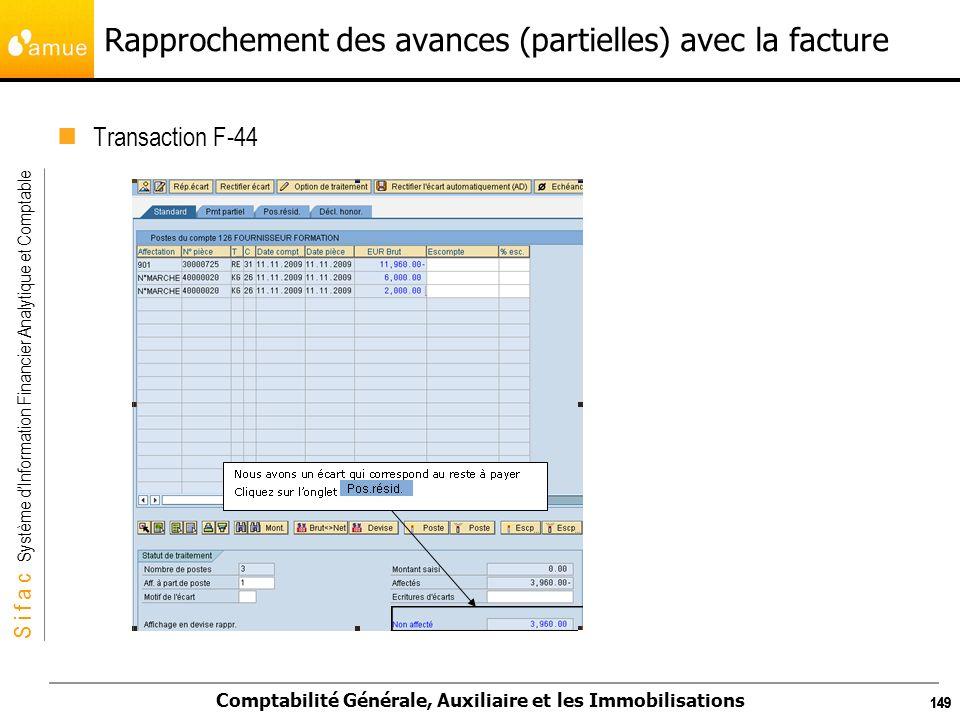 S i f a c Système dInformation Financier Analytique et Comptable Comptabilité Générale, Auxiliaire et les Immobilisations 149 Rapprochement des avance
