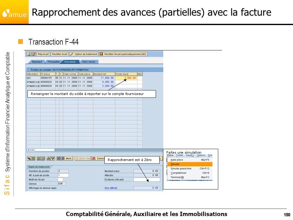 S i f a c Système dInformation Financier Analytique et Comptable Comptabilité Générale, Auxiliaire et les Immobilisations 150 Rapprochement des avance