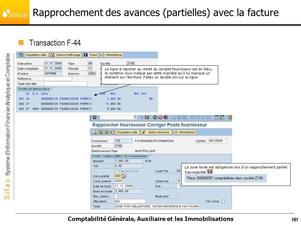 S i f a c Système dInformation Financier Analytique et Comptable Comptabilité Générale, Auxiliaire et les Immobilisations 151 Rapprochement des avance