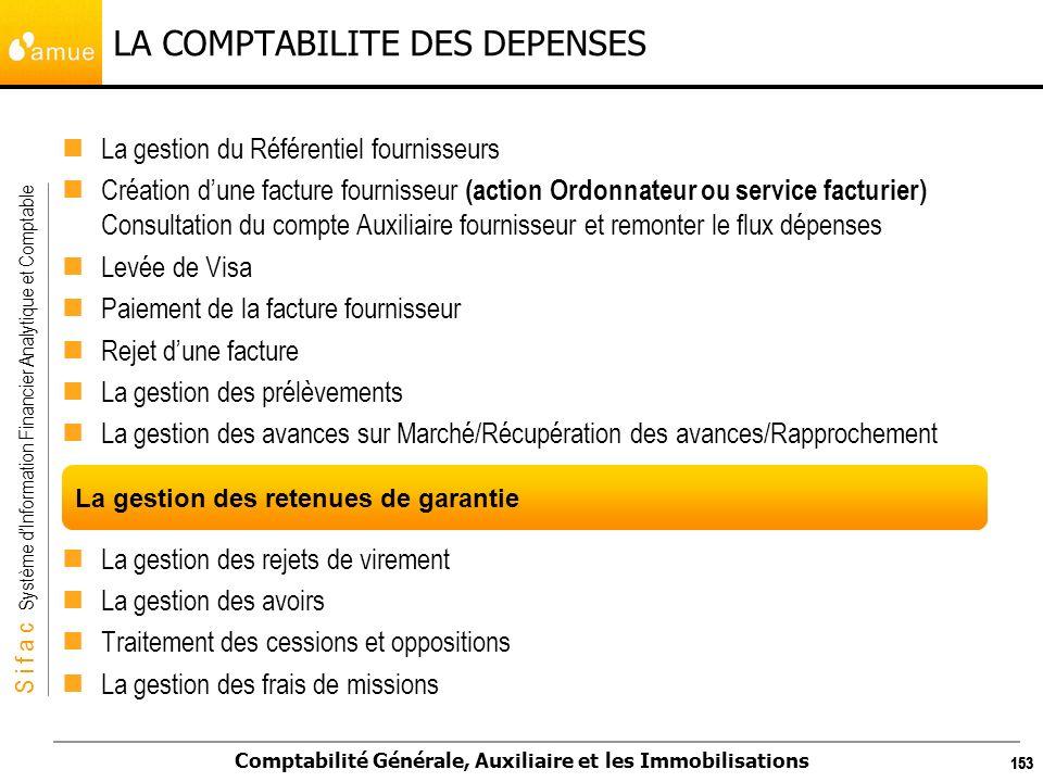 S i f a c Système dInformation Financier Analytique et Comptable Comptabilité Générale, Auxiliaire et les Immobilisations 153 LA COMPTABILITE DES DEPE