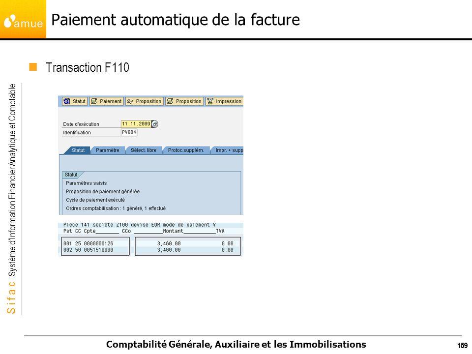 S i f a c Système dInformation Financier Analytique et Comptable Comptabilité Générale, Auxiliaire et les Immobilisations 159 Paiement automatique de