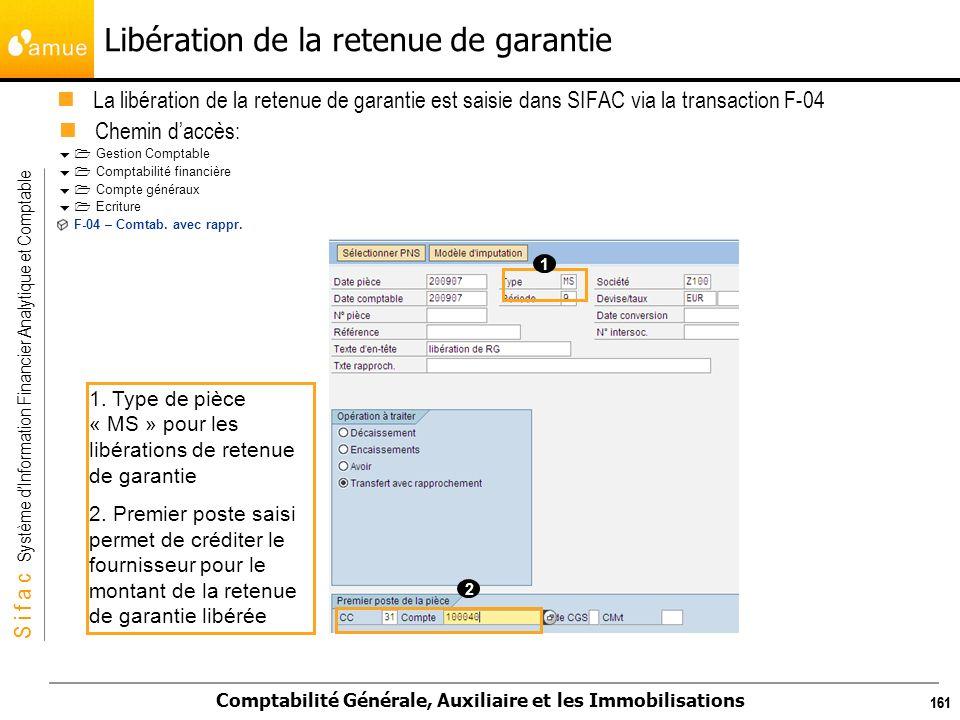 S i f a c Système dInformation Financier Analytique et Comptable Comptabilité Générale, Auxiliaire et les Immobilisations 161 Libération de la retenue