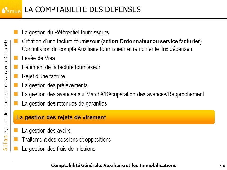S i f a c Système dInformation Financier Analytique et Comptable Comptabilité Générale, Auxiliaire et les Immobilisations 165 LA COMPTABILITE DES DEPE