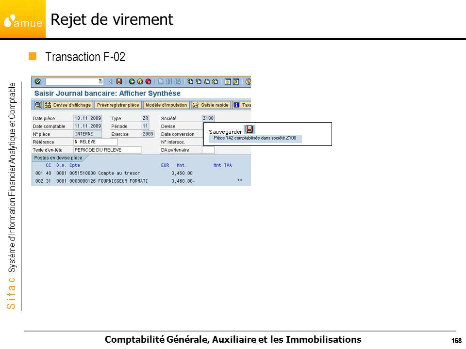 S i f a c Système dInformation Financier Analytique et Comptable Comptabilité Générale, Auxiliaire et les Immobilisations 168 Rejet de virement Transa
