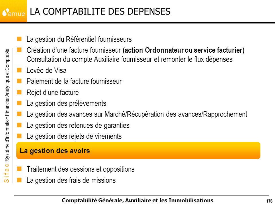 S i f a c Système dInformation Financier Analytique et Comptable Comptabilité Générale, Auxiliaire et les Immobilisations 176 LA COMPTABILITE DES DEPE