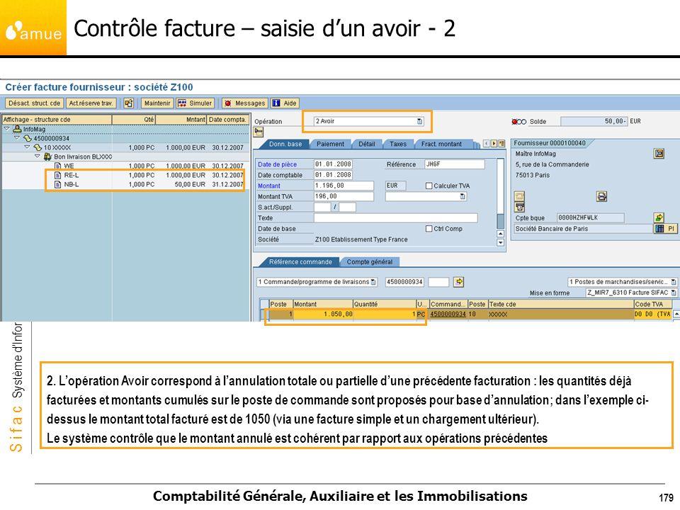 S i f a c Système dInformation Financier Analytique et Comptable Comptabilité Générale, Auxiliaire et les Immobilisations 179 2. Lopération Avoir corr