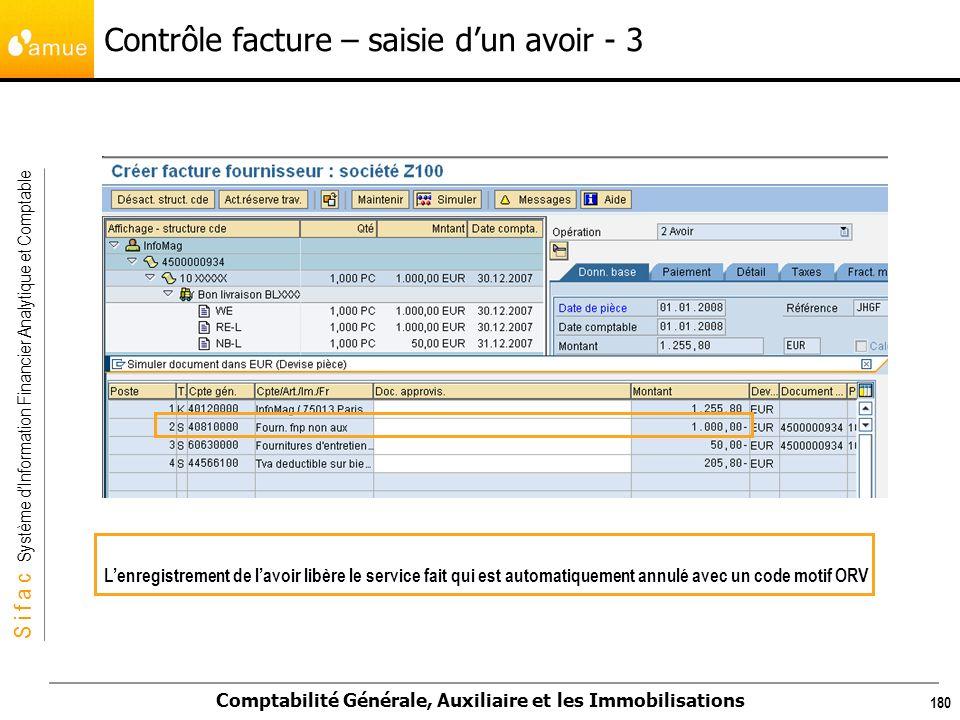 S i f a c Système dInformation Financier Analytique et Comptable Comptabilité Générale, Auxiliaire et les Immobilisations 180 Lenregistrement de lavoi