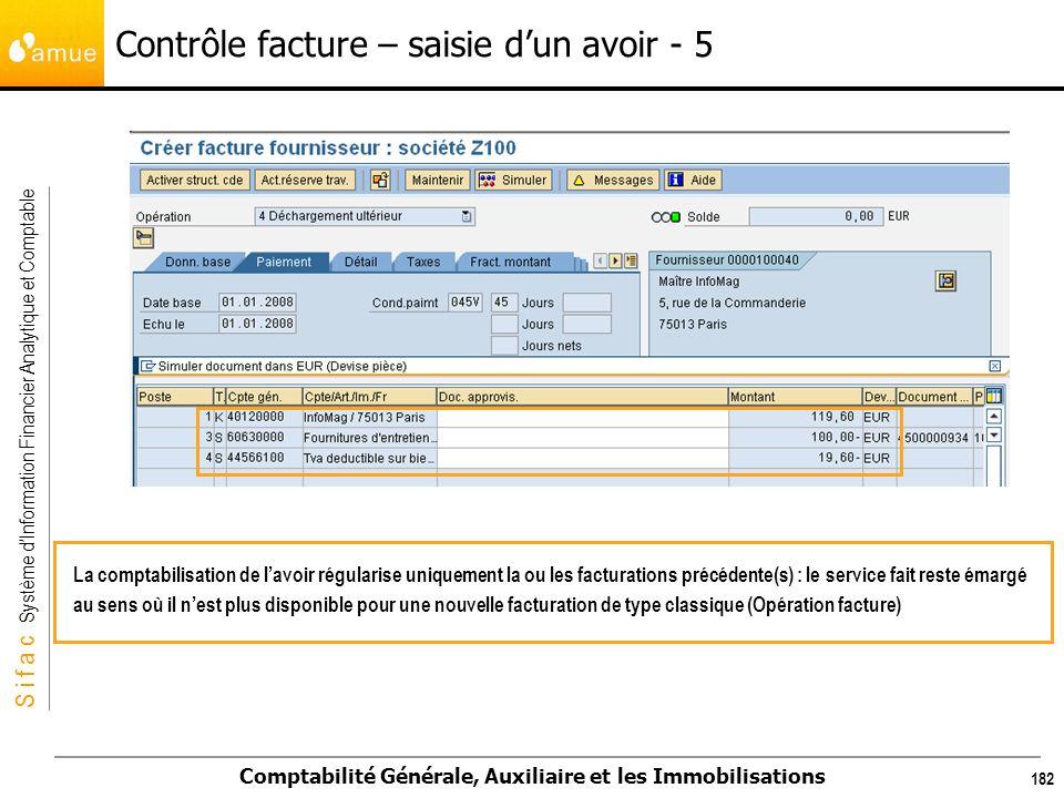 S i f a c Système dInformation Financier Analytique et Comptable Comptabilité Générale, Auxiliaire et les Immobilisations 182 La comptabilisation de l