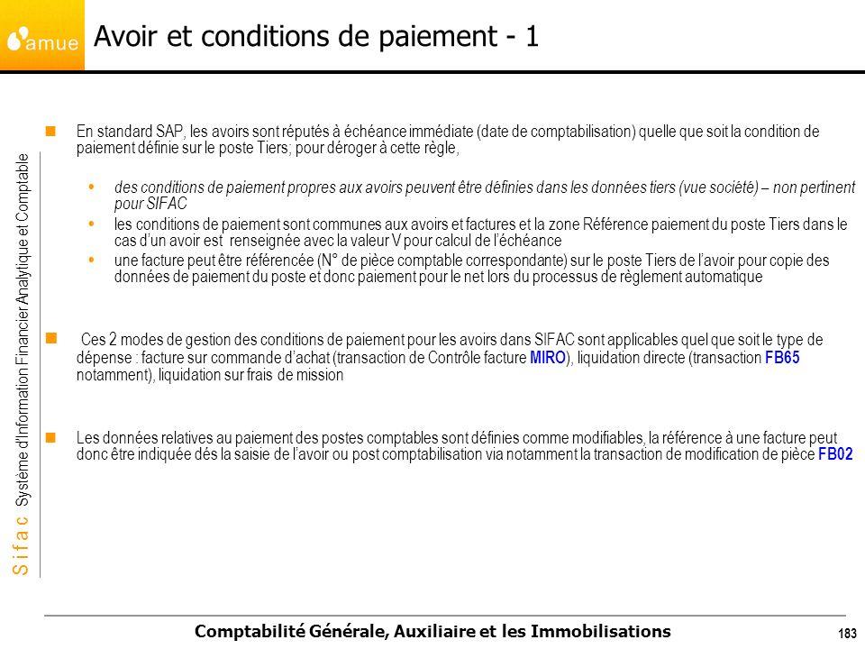 S i f a c Système dInformation Financier Analytique et Comptable Comptabilité Générale, Auxiliaire et les Immobilisations 183 En standard SAP, les avo