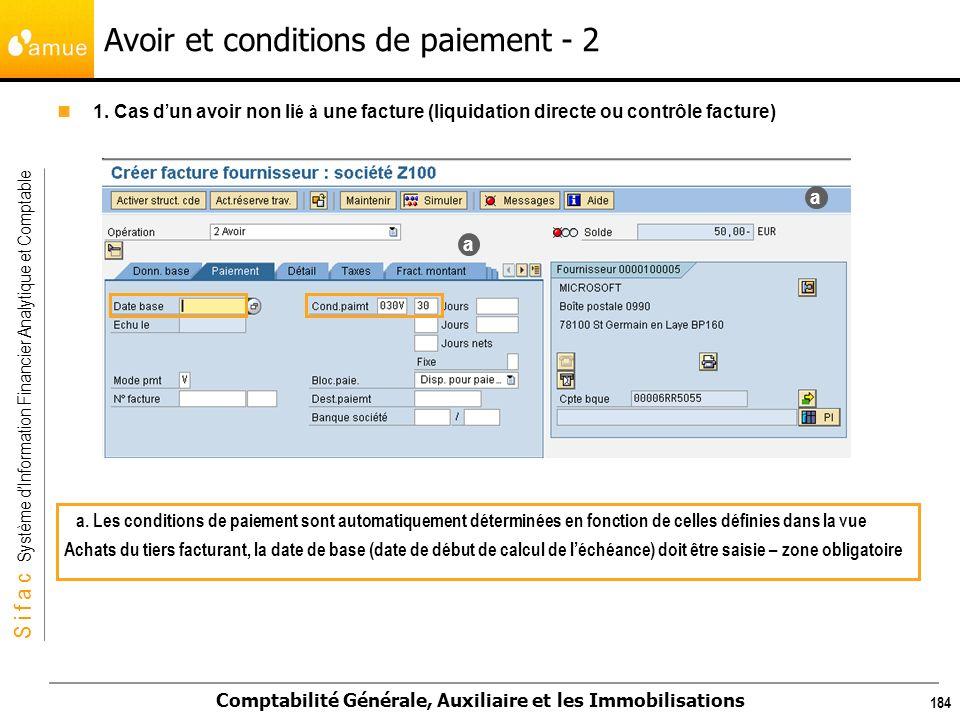 S i f a c Système dInformation Financier Analytique et Comptable Comptabilité Générale, Auxiliaire et les Immobilisations 184 1. Cas d un avoir non li