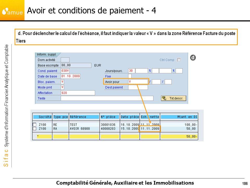 S i f a c Système dInformation Financier Analytique et Comptable Comptabilité Générale, Auxiliaire et les Immobilisations 186 Avoir et conditions de p