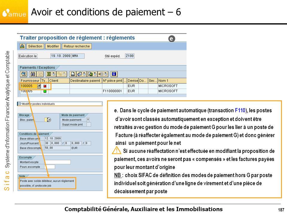 S i f a c Système dInformation Financier Analytique et Comptable Comptabilité Générale, Auxiliaire et les Immobilisations 187 Avoir et conditions de p