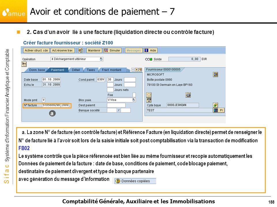 S i f a c Système dInformation Financier Analytique et Comptable Comptabilité Générale, Auxiliaire et les Immobilisations 188 Avoir et conditions de p
