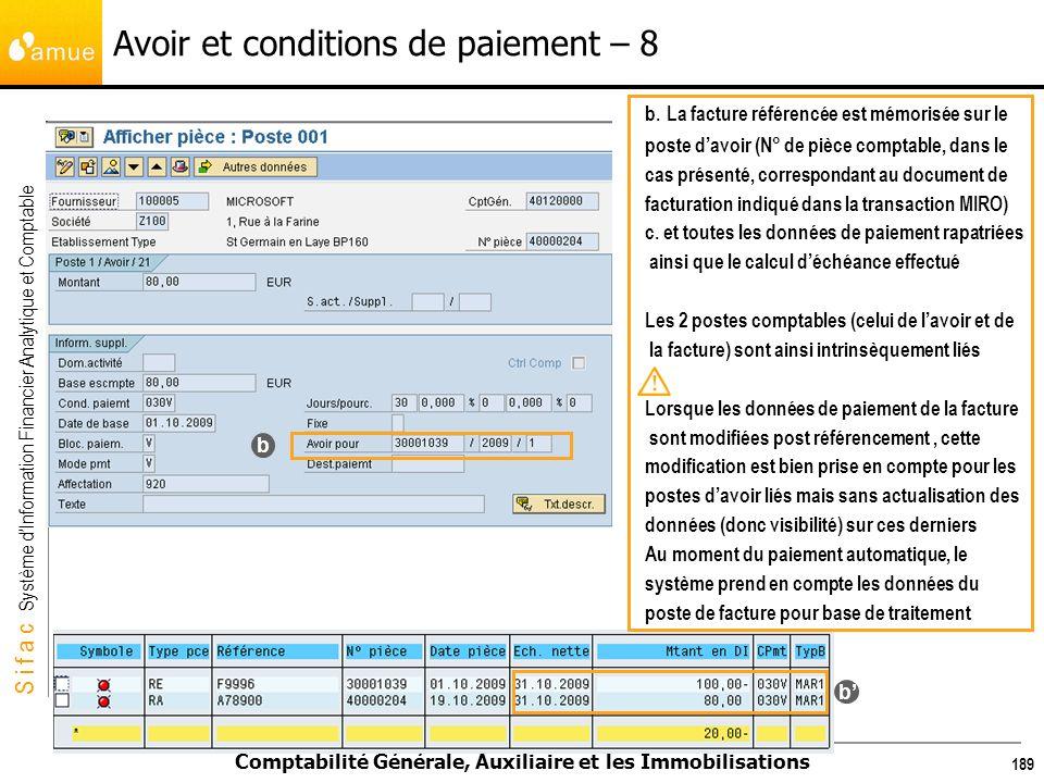 S i f a c Système dInformation Financier Analytique et Comptable Comptabilité Générale, Auxiliaire et les Immobilisations 189 Avoir et conditions de p