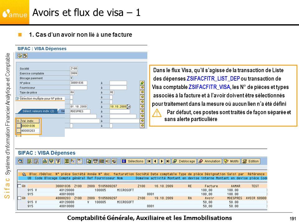 S i f a c Système dInformation Financier Analytique et Comptable Comptabilité Générale, Auxiliaire et les Immobilisations 191 Avoirs et flux de visa –