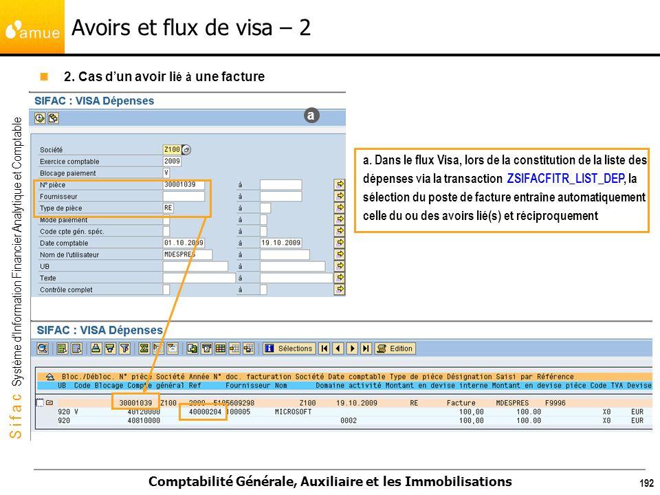 S i f a c Système dInformation Financier Analytique et Comptable Comptabilité Générale, Auxiliaire et les Immobilisations 192 Avoirs et flux de visa –