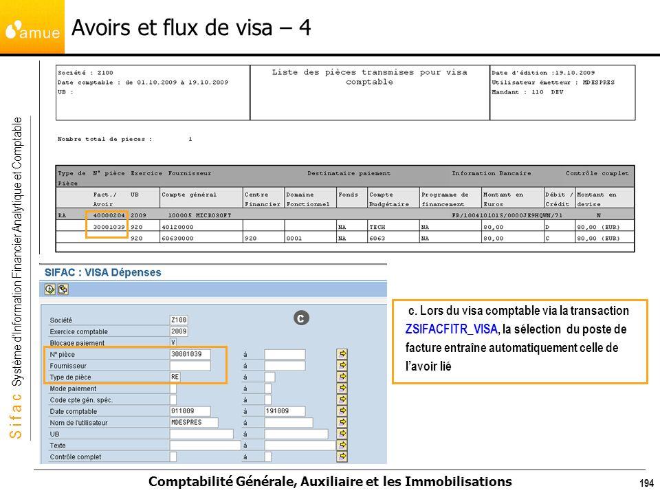S i f a c Système dInformation Financier Analytique et Comptable Comptabilité Générale, Auxiliaire et les Immobilisations 194 Avoirs et flux de visa –