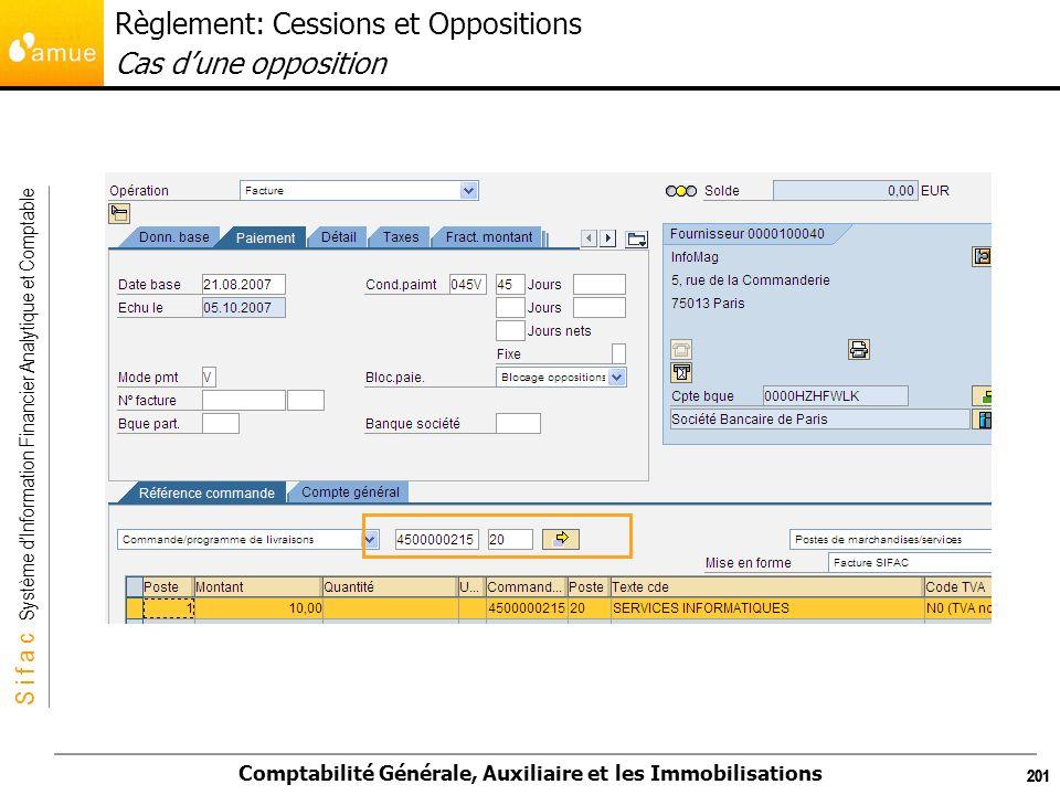 S i f a c Système dInformation Financier Analytique et Comptable Comptabilité Générale, Auxiliaire et les Immobilisations 201 Règlement: Cessions et O