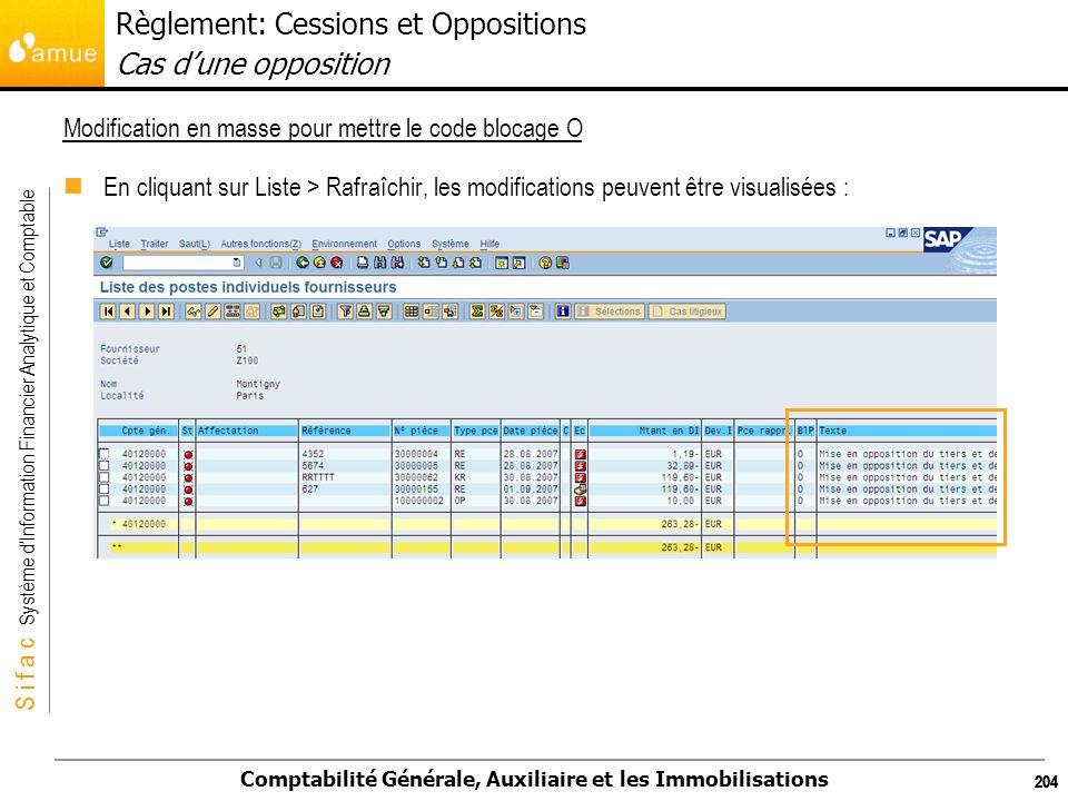 S i f a c Système dInformation Financier Analytique et Comptable Comptabilité Générale, Auxiliaire et les Immobilisations 204 En cliquant sur Liste >