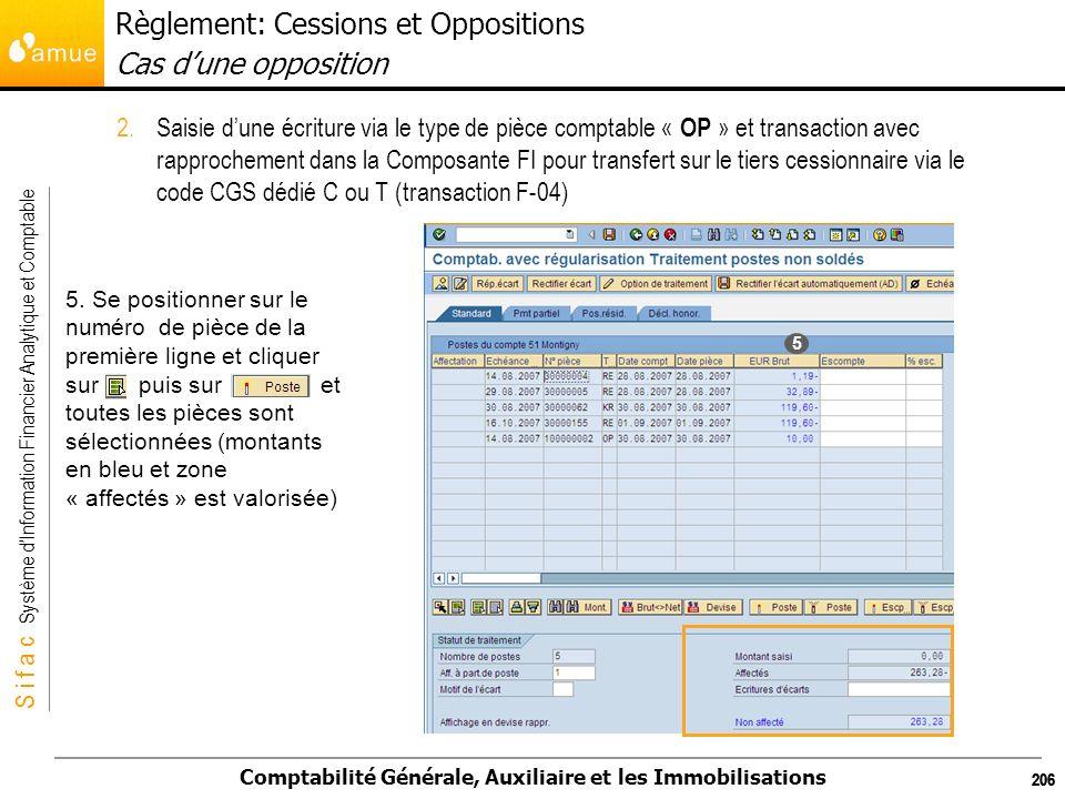 S i f a c Système dInformation Financier Analytique et Comptable Comptabilité Générale, Auxiliaire et les Immobilisations 206 2.Saisie dune écriture v