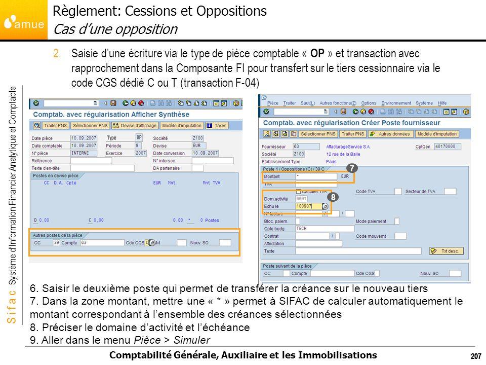 S i f a c Système dInformation Financier Analytique et Comptable Comptabilité Générale, Auxiliaire et les Immobilisations 207 2.Saisie dune écriture v