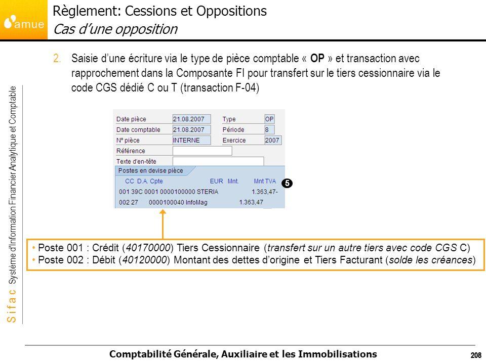S i f a c Système dInformation Financier Analytique et Comptable Comptabilité Générale, Auxiliaire et les Immobilisations 208 2.Saisie dune écriture v