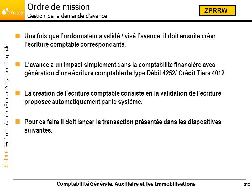 S i f a c Système dInformation Financier Analytique et Comptable Comptabilité Générale, Auxiliaire et les Immobilisations 212 Une fois que lordonnateu
