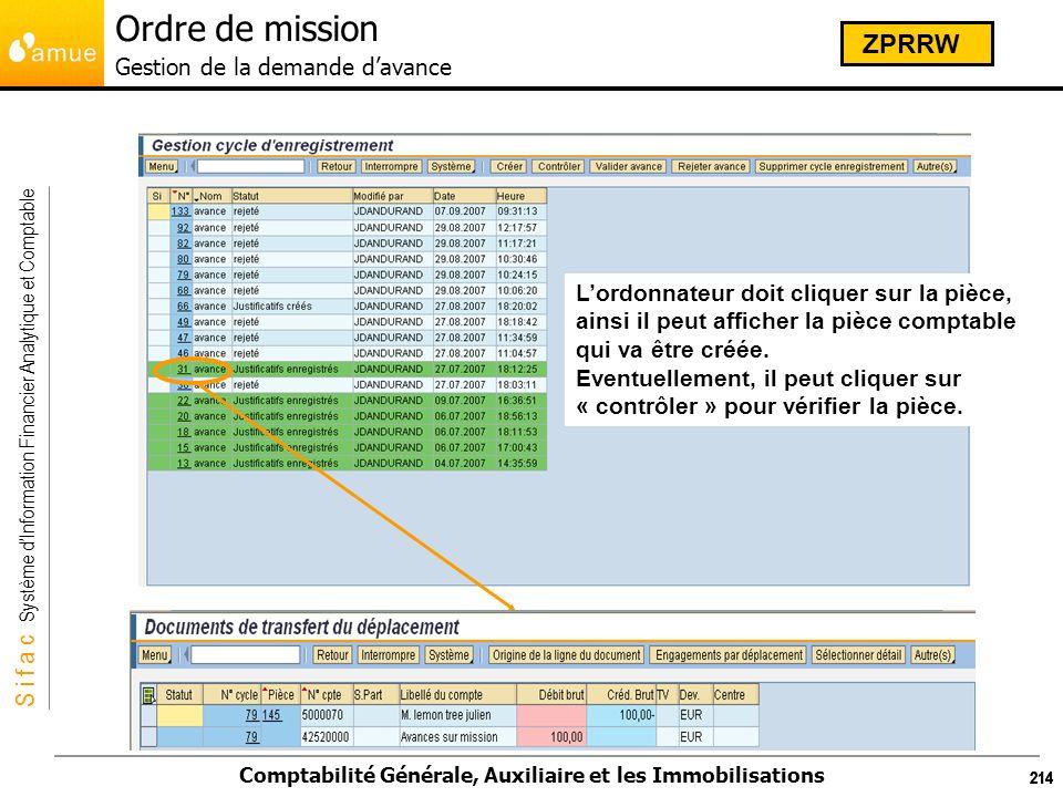 S i f a c Système dInformation Financier Analytique et Comptable Comptabilité Générale, Auxiliaire et les Immobilisations 214 Lordonnateur doit clique