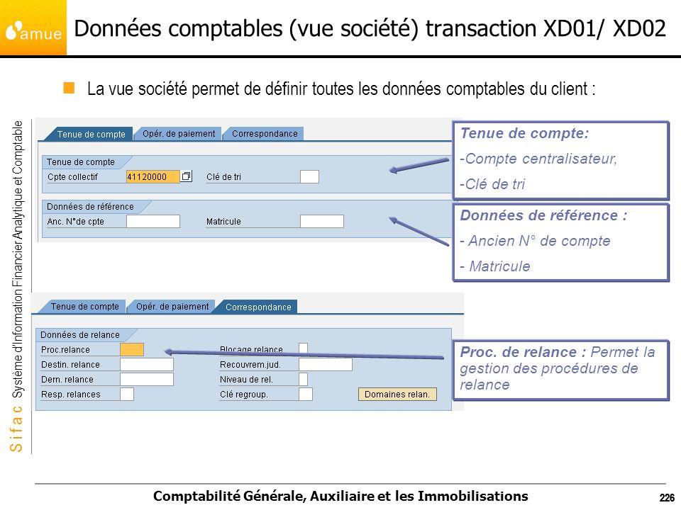 S i f a c Système dInformation Financier Analytique et Comptable Comptabilité Générale, Auxiliaire et les Immobilisations 226 Données comptables (vue