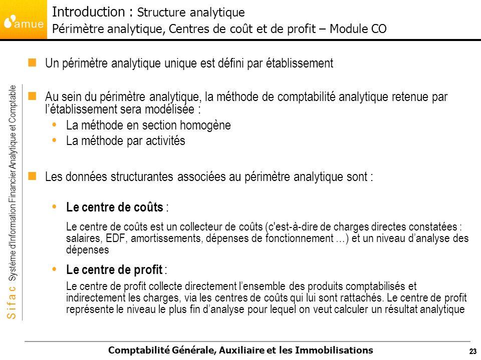 S i f a c Système dInformation Financier Analytique et Comptable Comptabilité Générale, Auxiliaire et les Immobilisations 23 Un périmètre analytique u