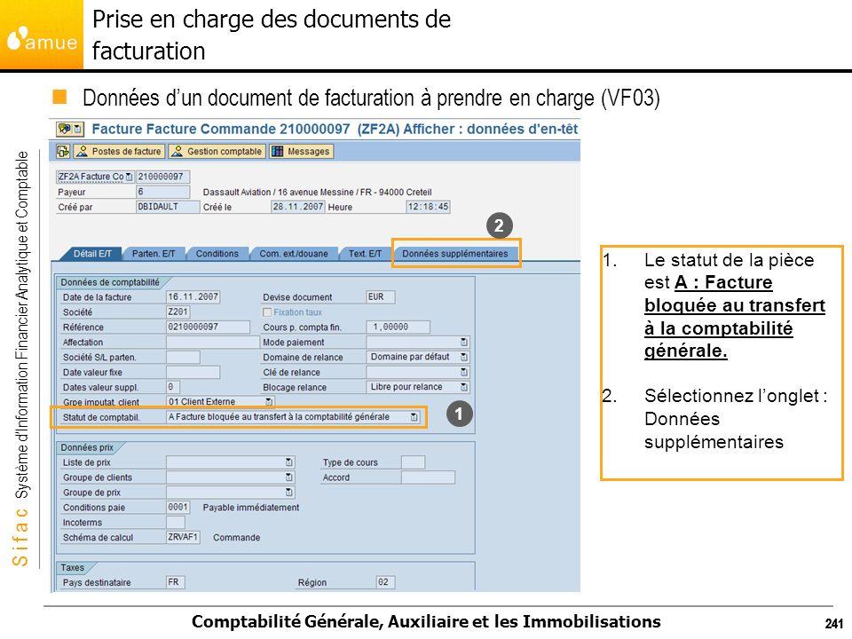 S i f a c Système dInformation Financier Analytique et Comptable Comptabilité Générale, Auxiliaire et les Immobilisations 241 1.Le statut de la pièce