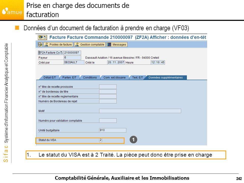 S i f a c Système dInformation Financier Analytique et Comptable Comptabilité Générale, Auxiliaire et les Immobilisations 242 1.Le statut du VISA est