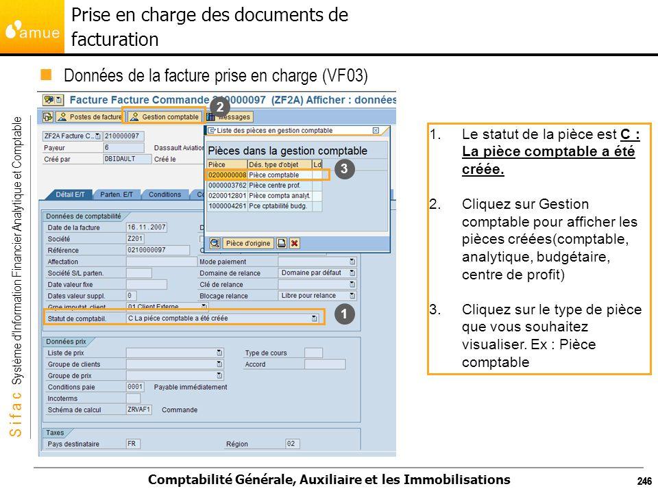 S i f a c Système dInformation Financier Analytique et Comptable Comptabilité Générale, Auxiliaire et les Immobilisations 246 Données de la facture pr