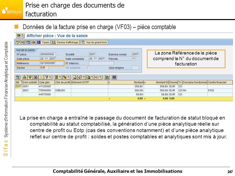 S i f a c Système dInformation Financier Analytique et Comptable Comptabilité Générale, Auxiliaire et les Immobilisations 247 Données de la facture pr