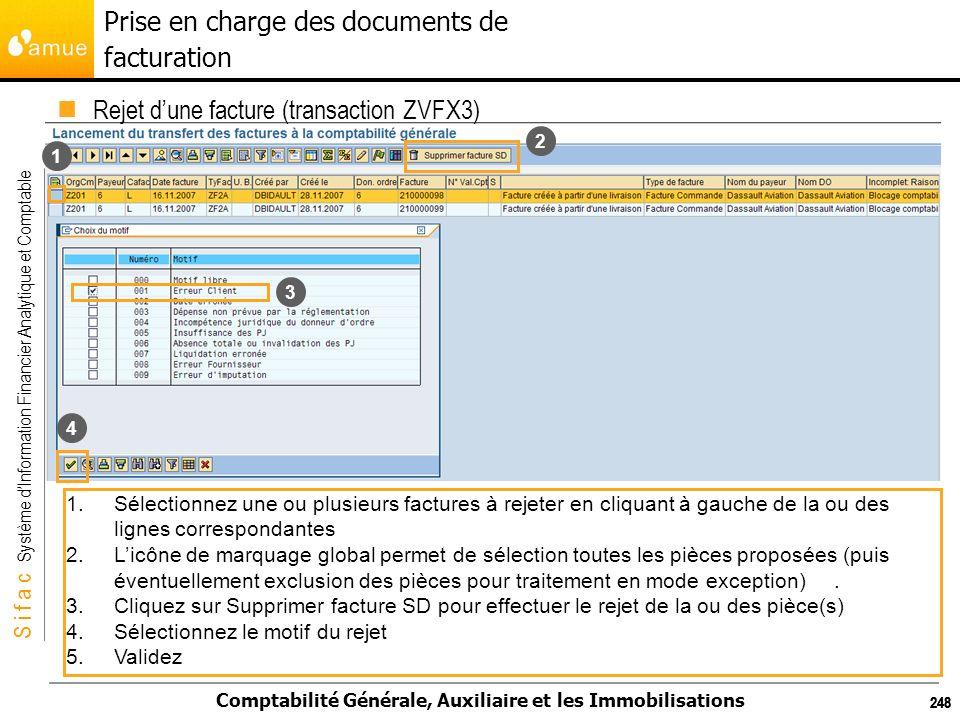 S i f a c Système dInformation Financier Analytique et Comptable Comptabilité Générale, Auxiliaire et les Immobilisations 248 Rejet dune facture (tran