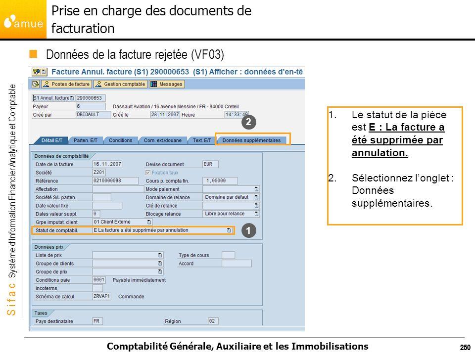 S i f a c Système dInformation Financier Analytique et Comptable Comptabilité Générale, Auxiliaire et les Immobilisations 250 Données de la facture re