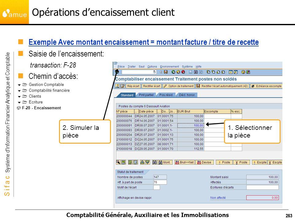 S i f a c Système dInformation Financier Analytique et Comptable Comptabilité Générale, Auxiliaire et les Immobilisations 263 Opérations dencaissement
