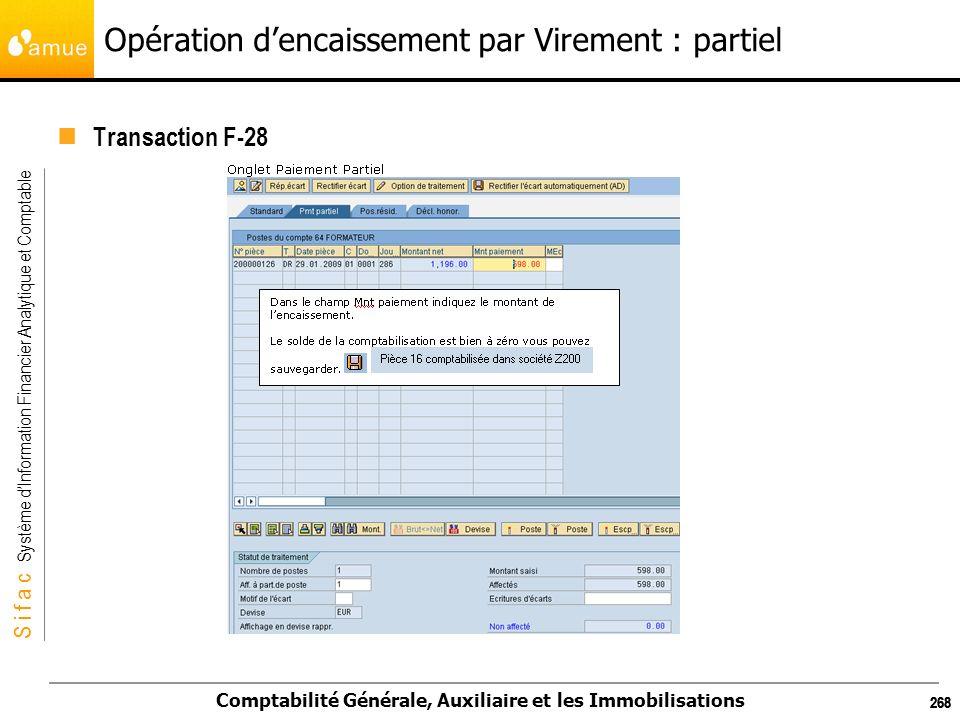 S i f a c Système dInformation Financier Analytique et Comptable Comptabilité Générale, Auxiliaire et les Immobilisations 268 Opération dencaissement