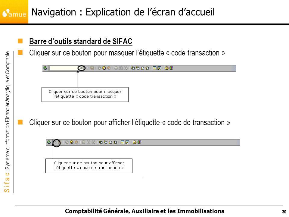 S i f a c Système dInformation Financier Analytique et Comptable Comptabilité Générale, Auxiliaire et les Immobilisations 30 Navigation : Explication