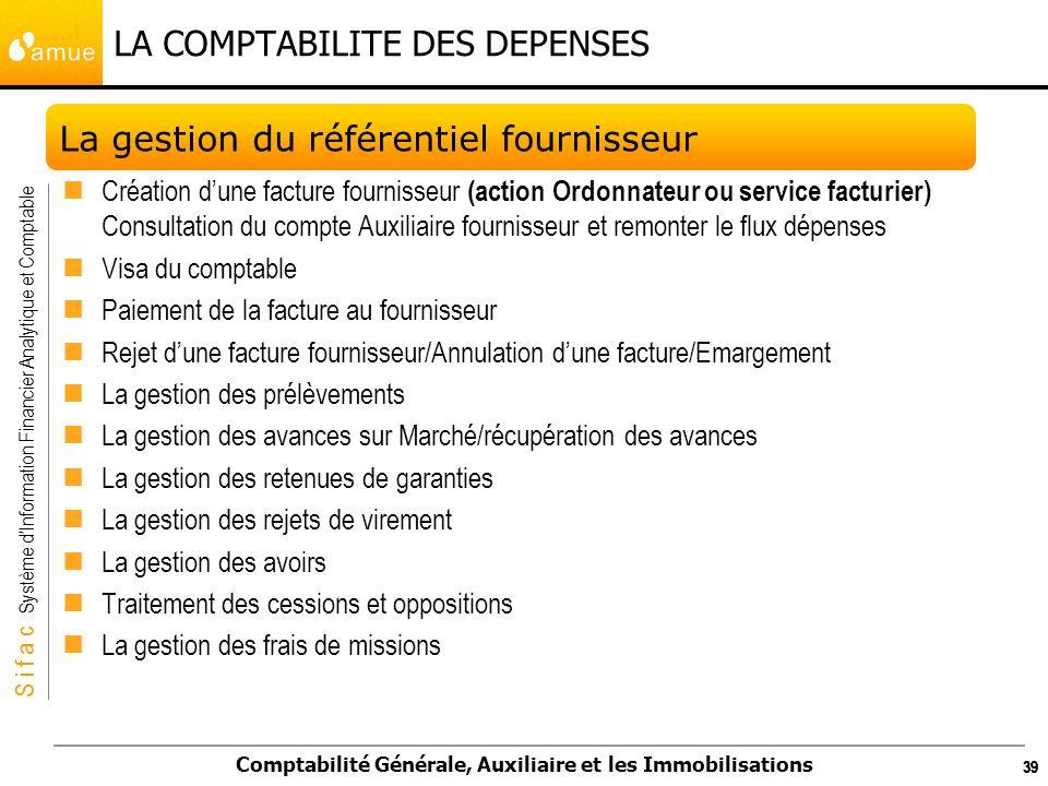 S i f a c Système dInformation Financier Analytique et Comptable Comptabilité Générale, Auxiliaire et les Immobilisations 39 LA COMPTABILITE DES DEPEN