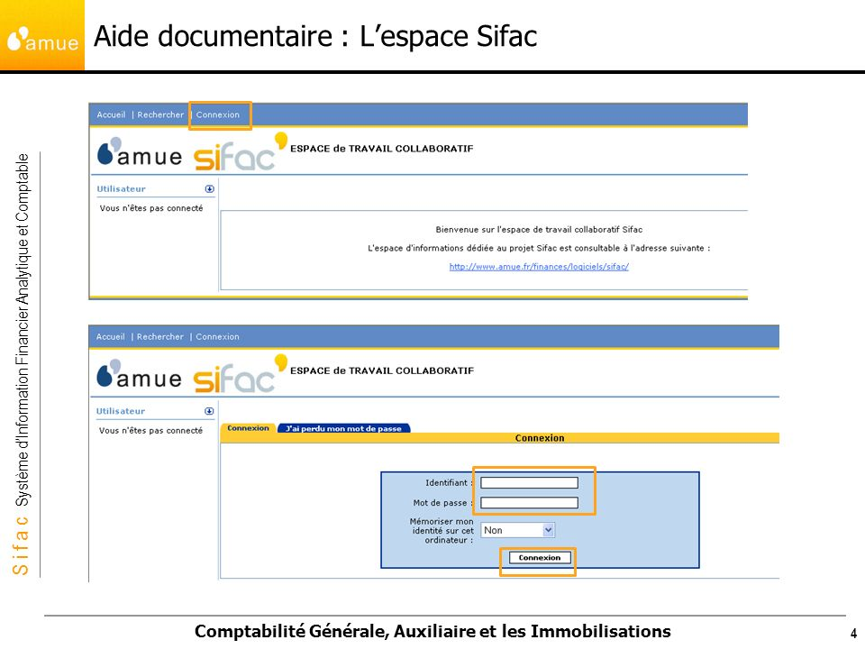 S i f a c Système dInformation Financier Analytique et Comptable Comptabilité Générale, Auxiliaire et les Immobilisations Aide documentaire : Lespace Sifac 5
