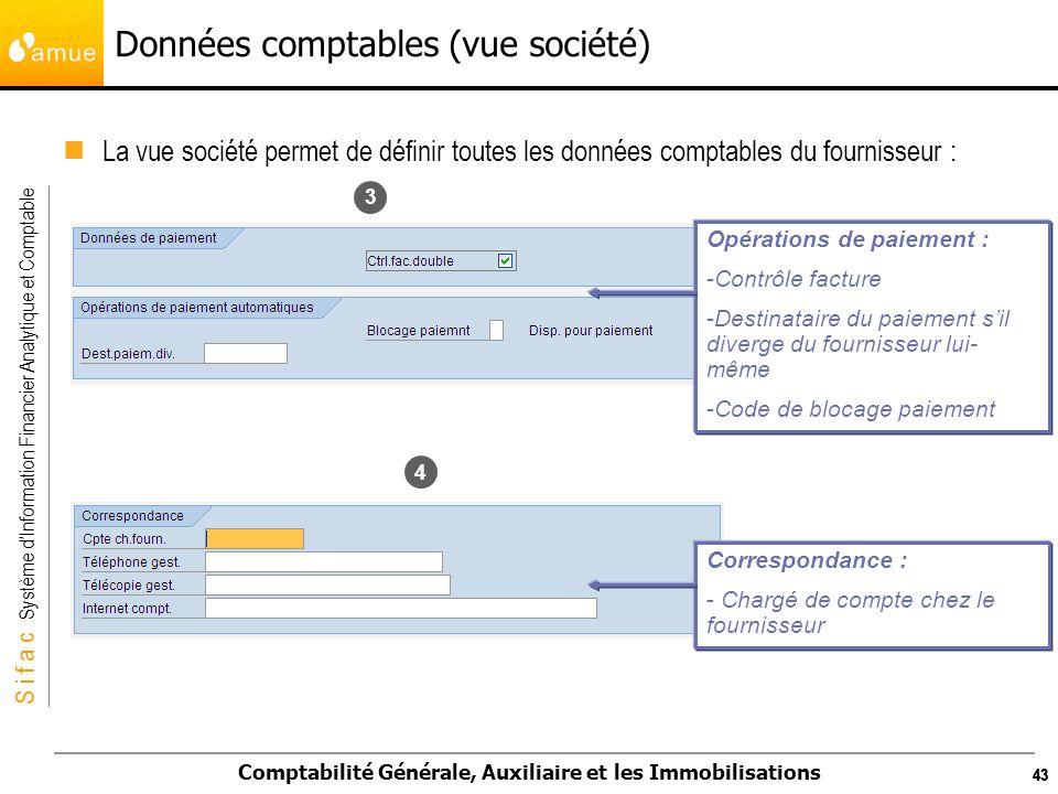 S i f a c Système dInformation Financier Analytique et Comptable Comptabilité Générale, Auxiliaire et les Immobilisations 43 Données comptables (vue s