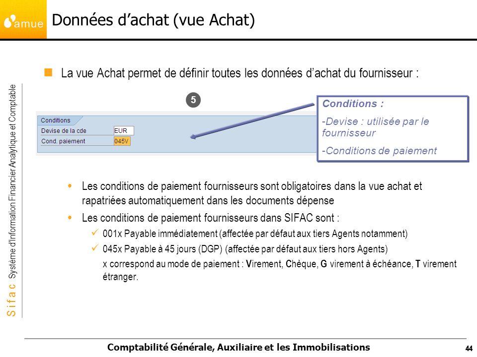 S i f a c Système dInformation Financier Analytique et Comptable Comptabilité Générale, Auxiliaire et les Immobilisations 44 Données dachat (vue Achat